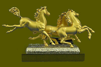 Close Out Equestrian 3 Horses Running Playing Bronze 24K Gold Gift Sculpture