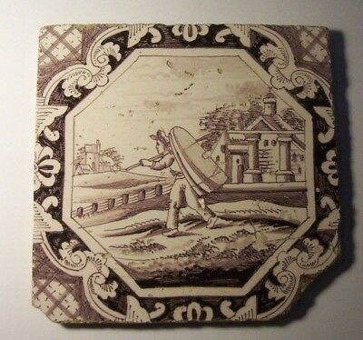 Delft Tile c. 18th / 19th century   (T 38)    Boatman