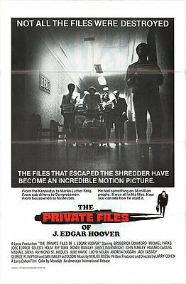 THE PRIVATE FILES OF J. EDGAR HOOVER orginal 1977 1sht movie poster LARRY COHEN