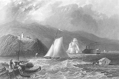LIGHTHOUSE SAIL BOATS ON HUDSON RIVER ~ Old 1838 Landscape Art Print Engraving