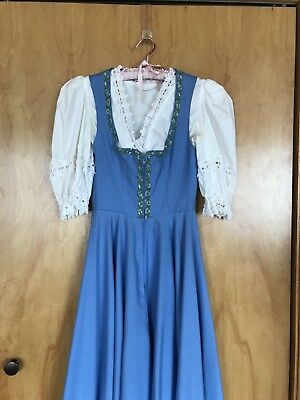 Blue Long Dirndl Dress Oktoberfest Dress with Cropped Top Size 8