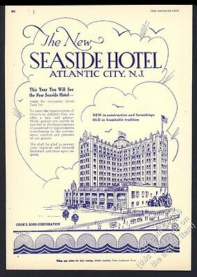 1929 Seaside Hotel Atlantic City New Jersey illustrated vintage trade print ad