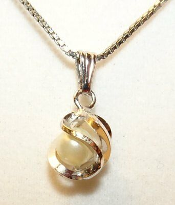 Caged Pearl Necklace 12K White Gold Filled Sterling Silver Box Chain Vintage