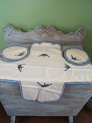 Vintage Tablecloth 5 Pc. SET Embroidered Bluebirds Crochet Edging