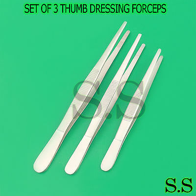 "3 Tweezers Thumb Dressing Forceps 8"" 10"" 12"" Serrated"