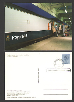 POSTCARD Royal Mail TRAVELLING POST OFFICE, SHREWSBURY - YORK 02/11/81 T.P.O.