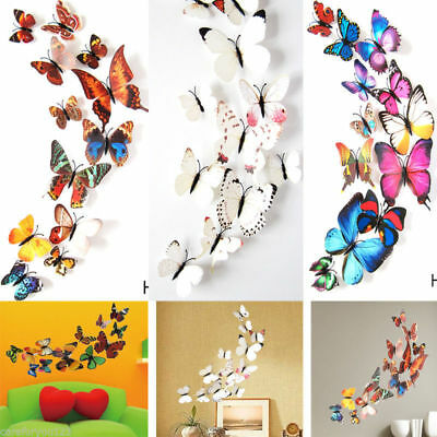 Decor 12PCS Magnet Removable Paper DIY Wall Sticker 3D Home Decoration Butterfly