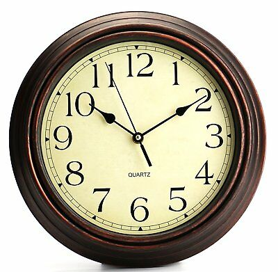 40cm Brown Wall Clock Bed Room Home Large Kitchen Vintage Style Retro Hanging