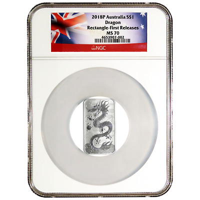 2018 $1 Silver Australian Dragon Rectangle 1 oz NGC MS70 First Releases