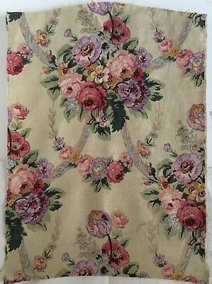 Beautiful French 1930's Printed Linen Floral Fabric (2239)