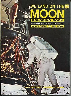 We Land On The Moon Coloring Book #1056 1965-NASA Project Apollo-Armstrong-FN