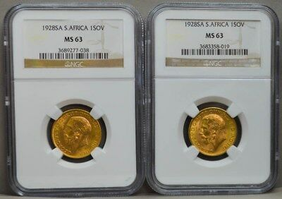 Two 1928 South Africa Sovereigns MS63 NGC