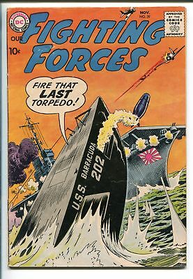 OUR FIGHTING FORCES #39-1958-DC-FROGMAN STORY-TORPEDO BOAT-MORT DRUCKER-fn