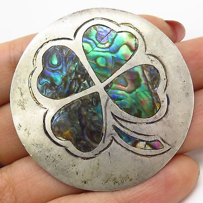 Vtg Mexico Signed 925 Silver Abalone Shell Four-Leaf Clover Pin Brooch Pendant