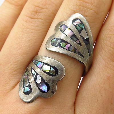 Vtg Mexico 925 Sterling Silver Abalone Shell Inlay Wide Adjustable Ring Size 7