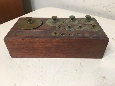 Antique Apothecary Or Gold Scale Weight Set & Wood Case Incomplete 50ozt