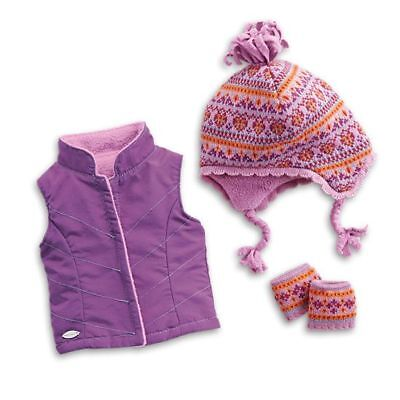 "* AMERICAN GIRL 18"" OUTFIT Warm Winter Accessories Vest Hat for Doll NEW IN BOX"