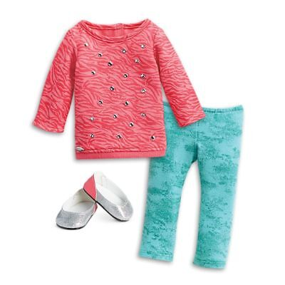 "* AMERICAN GIRL 18"" OUTFIT Cool Coral Top Leggings Shoes for Doll - NEW NIB"