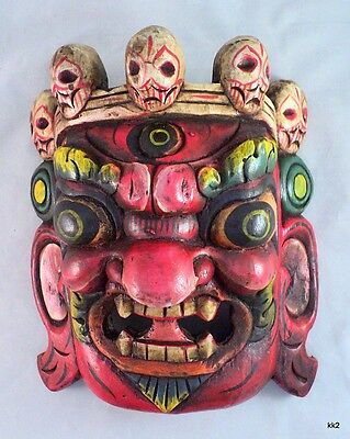 """Red Hand-carved Bhairab Hindu Protect Deity 9"""" Wood Mask - Handmade in Nepal"""