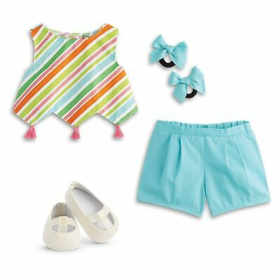 "* AMERICAN GIRL 18"" OUTFIT Melody's Play Top Shorts Shoes Bows for Doll NEW NIB"