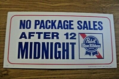 Nos Vintage Pabst Blue Ribbon Beer Advertising No Package Sales After 12 Sign
