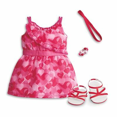 "* AMERICAN GIRL 18"" OUTFIT Red Hearts Ruffle Dress Shoes for Doll - NEW IN BOX"