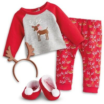 "* AMERICAN GIRL 18"" OUTFIT Festive Reindeer Pyjamas PJs for Doll - NEW IN BOX"