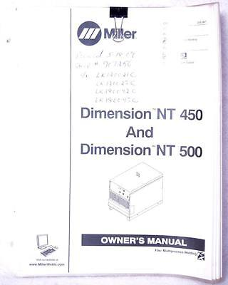 Miller Dimension NT 450 & NT 500 Owners Manual OM-2252 Welding