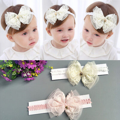 Kids Girl Baby Headband Toddler Lace Bow Flower Hair Band Bow-knot Accessories