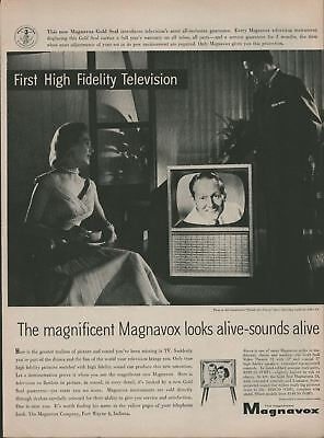 1956 Original Print Ad Magnavox First High Fidelity Television Art Linkletter