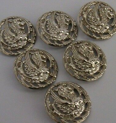 Beautiful Good Sized Solid Sterling Silver Dragon Beast Buttons 1901 Antique