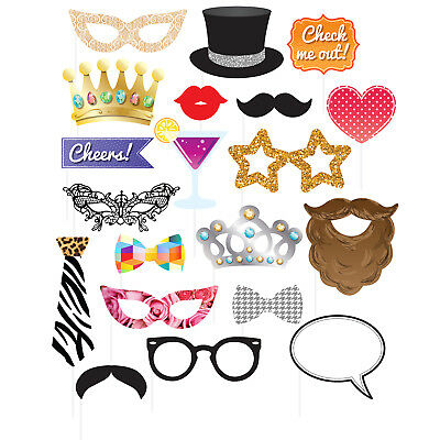 20 Happy Birthday Wedding New Year Children's Party Hand Held Photo Booth Props