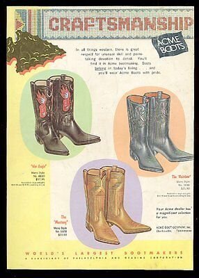 1961 Acme cowboy boots 3 styles War Eagle Mustang Rainbow vintage print ad