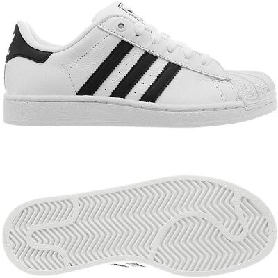 Adidas Superstar 2 K kid's low-top sneakers white leather casual shoes NEW
