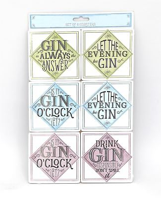 Set of 6 Gin Design Coasters