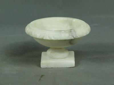 Vintage Miniature Hand Carved White and Grey Alabaster Bird Bath Only