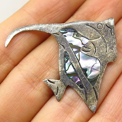 Vtg Mexico 925 Sterling Silver Abalone Shell Tropical Fish Pin Brooch