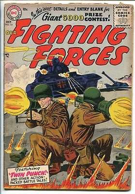 OUR FIGHTING FORCES #14-1956-DC-SILVER AGE-TANK COVER-vg