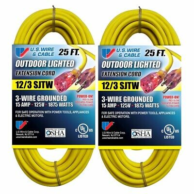 2 Pack 25-FT Extension Cords 12/3 SJTW HeavyDuty Outdoor Lighted US Wire & Cable