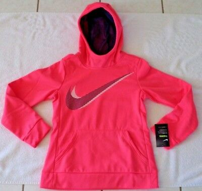 Girls Size L (14-16) Nike Girls Therma Training Hoodie Peach/navy Pullover  Nwt