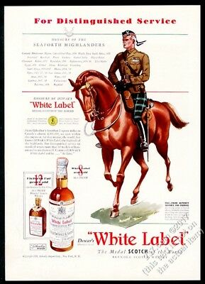 1938 Seaforth Highlander soldier on horse Dewar's Scotch Whisky vintage print ad