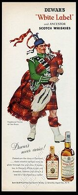 1956 Clan Bruce tartan bagpipes piper Dewar's Scotch whisky vintage print ad