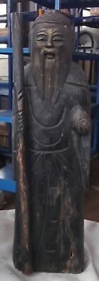 Vintage CHINESE MONK With STAFF Handcarved SOLID WOOD