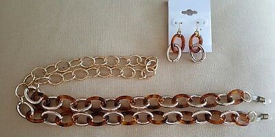 ! Tortoise Shell Look And Gold Links Eyeglass Chain  Plus Free Earrings !!