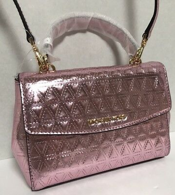 1e73fb32eda12 NEW Michael Kors XS Ava Top Handle Soft Pink Glimmering Leather Satchel  Handbag