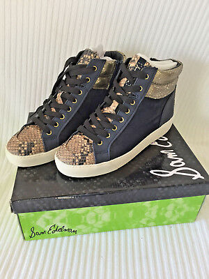 2b2ec752e8317 Nib Sam Edelman Womens Hightop Tennis Shoes Britt Navy Brahma Size 9.5 M