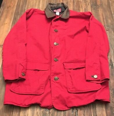 Vintage Marlboro Country Store Leather Collar Red Barn Chore Coat Jacket S
