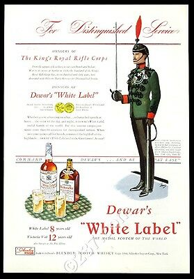 1941 Dewar's White Label Scotch whisky King's Royal Rifle Corps soldier print ad