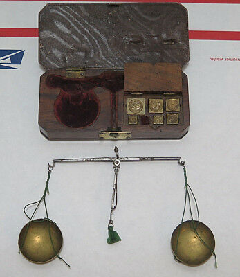 Antique Apothecary Gold Brass Balance Scale