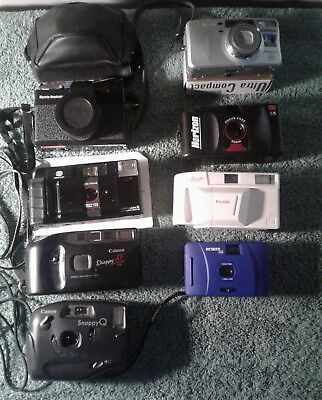 LOT OF 8 ASSORTED CAMERAS Canon, Snappy Q, Minolta , Argus Kodak